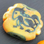 Cake Batter cave painting bead, lightly etched